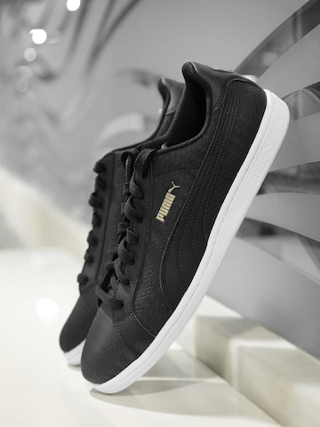 Puma Unisex Black Woven Smash Sneakers