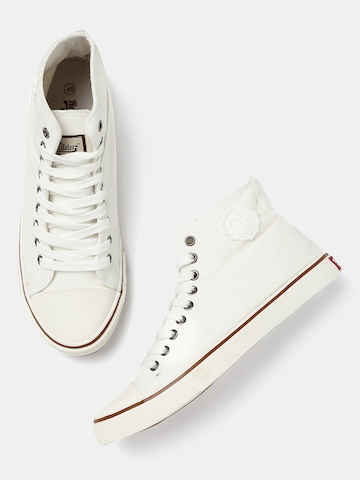 White Solid Mid-Top Sneakers on Myntra