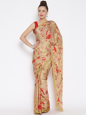 abc916611 50% OFF on Jashn Beige Crepe Satin Floral Print Saree on Myntra ...