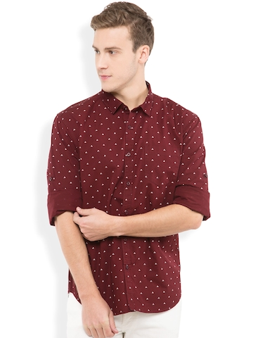 large discount discount for sale united states HIGHLANDER Men Maroon Slim Fit Printed Casual Shirt