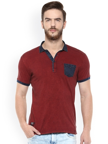c0a833c6 50% OFF on Mufti Men Maroon Striped Polo T-shirt on Myntra | PaisaWapas.com