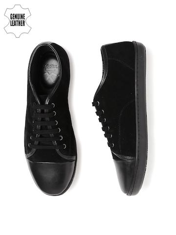 WROGN Men Black Solid Leather Sneakers