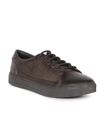 a8682b6c9caa 55% OFF on U.S. Polo Assn. Men Brown Solid Genuine Leather Ezra Sneakers on  Myntra