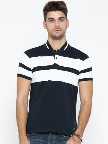 d0d7098a4 50% OFF on Roadster Men Navy & White Striped Stand Collar T-shirt on Myntra  | PaisaWapas.com