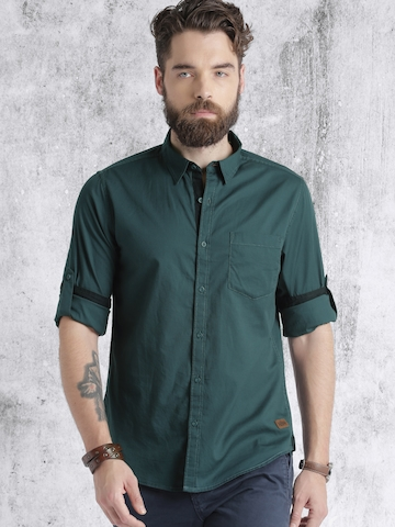 68afadeb 60% OFF on Roadster Men Teal Blue Solid Casual Shirt on Myntra |  PaisaWapas.com
