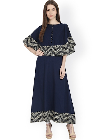 b2197e225 50% OFF on Nayo Women Navy Blue Printed Layered A-Line Kurta on Myntra
