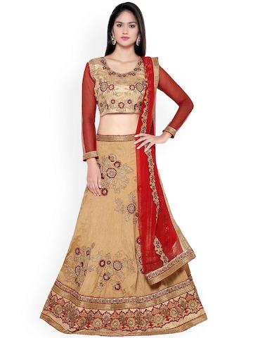 44b121bd2a3 60% OFF on Aasvaa Beige   Red Embroidered Silk Semi-Stitched Lehenga Choli  with Dupatta on Myntra