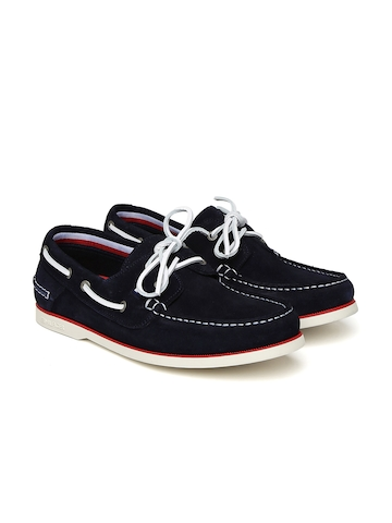 12ab43ee3 50% OFF on Tommy Hilfiger Men Navy Suede Boat Shoes on Myntra ...