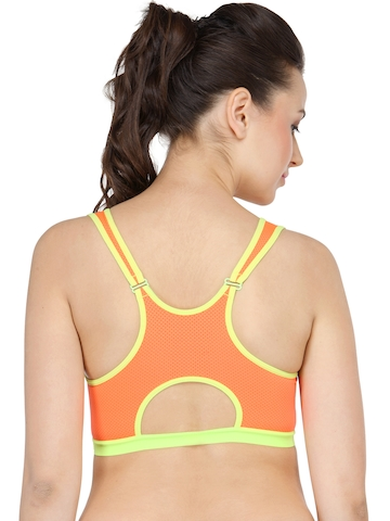 5d6f056314 45% OFF on N-Gal Orange Solid Non-Wired Non Padded Sports Bra