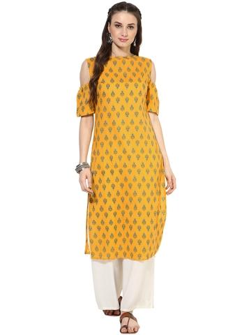 c3184bf1725 40% OFF on Nayo Women Yellow Printed Cold Shoulder Kurta on Myntra ...