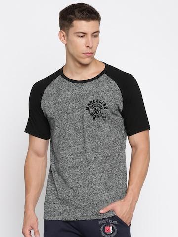 Masculino Latino Men Charcoal Grey Self Design Round Neck T-shirt