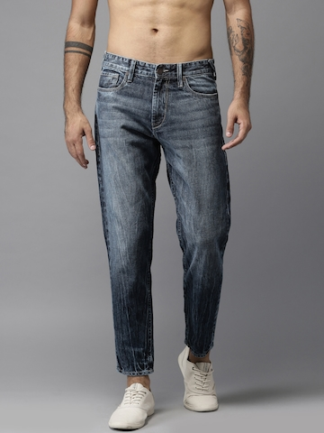 Moda Rapido Men Ankle Length Tapered Fit Mid-Rise Blue Clean Look Jeans