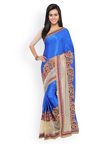 Colors Blue Embroidered Satin Saree