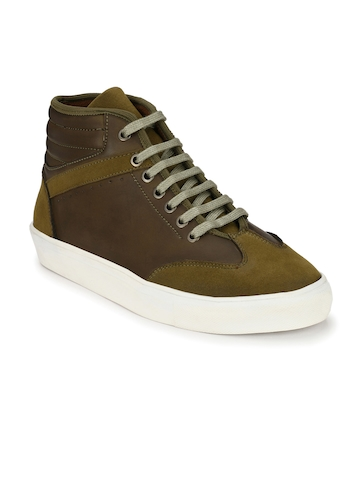 6f4fd30a3f71d Buy AfroJack Men Olive Green   Brown Colourblocked Mid-Top Sneakers on  Myntra