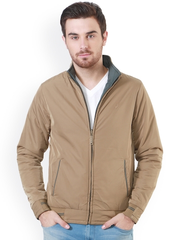 Allen Solly Men Khaki & Grey Solid Reversible Bomber Jacket