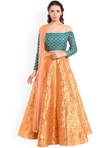 6ee234951ae59 Buy Kalki Peach & Teal Embellished Stitched Lehenga Choli with Dupatta on  Myntra | PaisaWapas.com