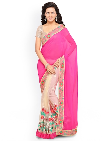 Lenora Pink & Cream-Coloured Pure Georgette Embroidered Saree