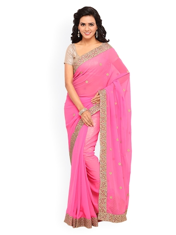 Lenora Pink Embroidered Poly Georgette Saree