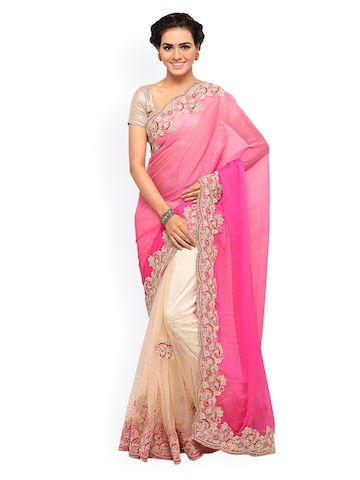 Lenora Pink & Cream-Coloured Poly Georgette Embroidered Saree