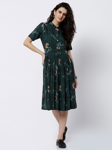 Tokyo Talkies Women Green Printed Shirt Dress