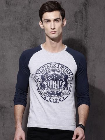 5b236c9b5503 50% OFF on Roadster Men Grey Melange Printed Round Neck T-shirt on Myntra |  PaisaWapas.com