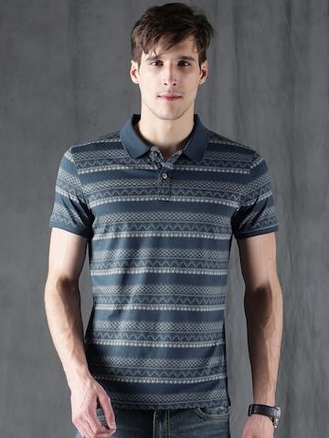 3661a4772e 40% OFF on WROGN Men Blue Printed Polo Collar T-shirt on Myntra |  PaisaWapas.com