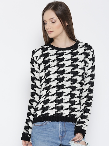 FOREVER 21 Women Black u0026 White Self-Design Sweater