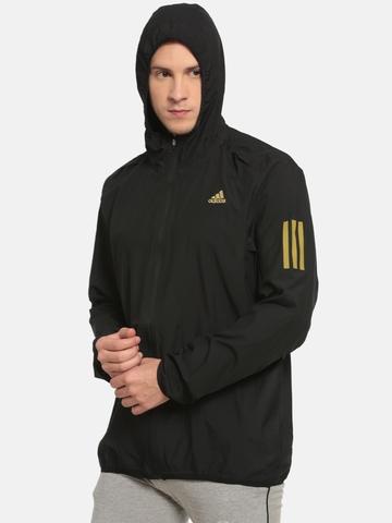 9b231ba7a6f7 45% OFF on Adidas Men Black RS HD Wind Solid Running Jacket on Myntra