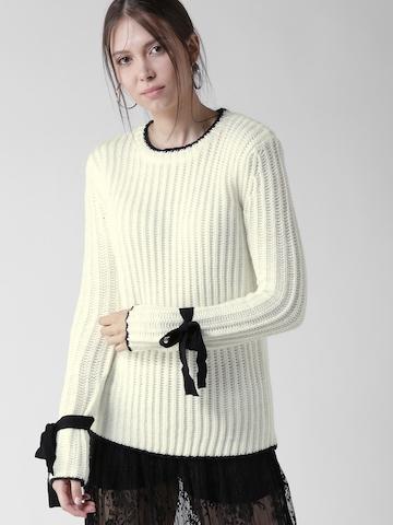 c62bda2c8e15 Buy FOREVER 21 Women Off-White Self-Striped Sweater on Myntra ...