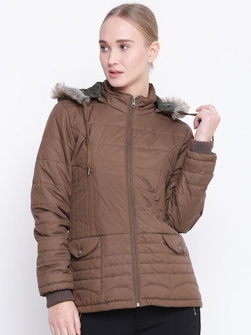 Buy Fort Collins Women Brown Solid Hooded Parka Jacket on Myntra ... e50ae5949c