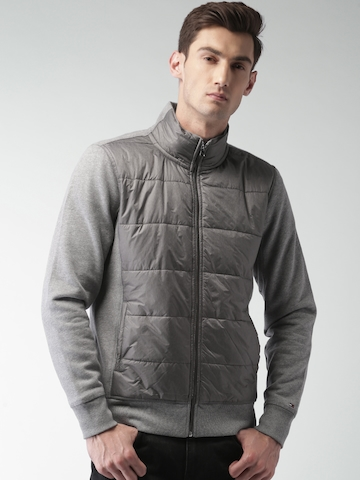 9328bf4c850 50% OFF on Tommy Hilfiger Men Grey Solid Padded Jacket on Myntra ...