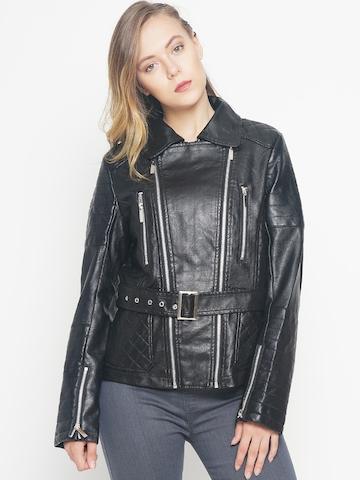 50 Off On The Indian Garage Co Women Black Solid Biker Jacket On