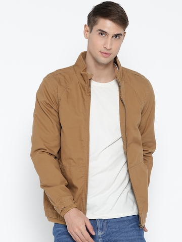 8be67bae3 John Players Men Khaki Solid Bomber Jacket