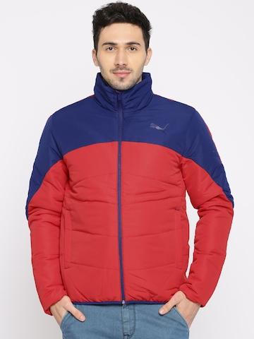 56ca3b508ca4 40% OFF on Puma Men Red   Blue Colourblocked ESS PADDED JACKET Jacket on  Myntra