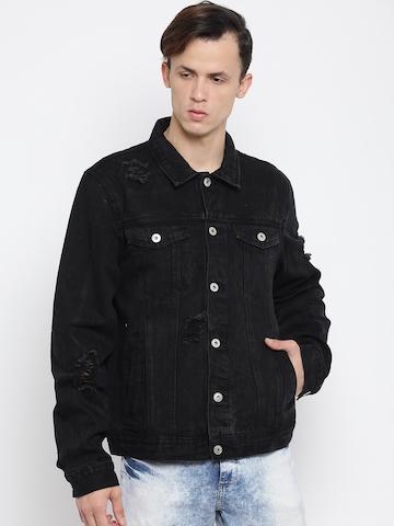 buy forever 21 men black washed denim jacket on myntra paisawapas com