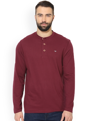 5a0c569d 60% OFF on Red Tape Men Maroon Solid Henley Neck T-shirt on Myntra |  PaisaWapas.com