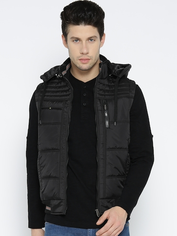 5af91d045 Fort Collins Men Black Solid Sleeveless Bomber Jacket with Detachable Hood
