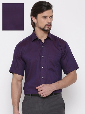 dcbf10f1956 40% OFF on Van Heusen Men Purple Custom Regular Fit Self Design Formal Shirt  on Myntra
