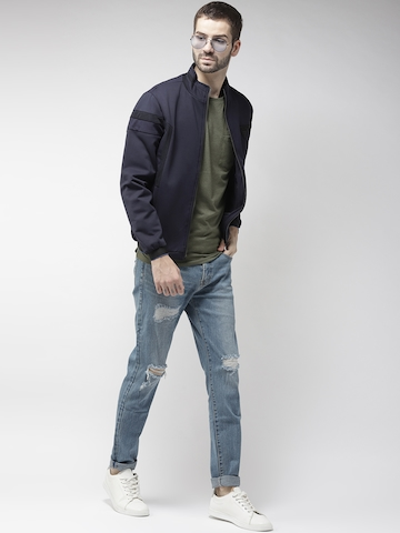 casual shoes outlet store outlet on sale Fort Collins Men Navy Blue Solid Bomber Jacket