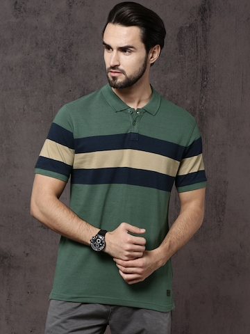 db3331207a 20% OFF on Roadster Men Green Striped Polo Collar T-shirt on Myntra |  PaisaWapas.com
