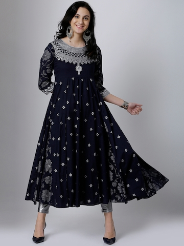 ccd8fb228 55% OFF on Vishudh Women Navy Blue   Silver-Toned Printed Anarkali Kurta on  Myntra