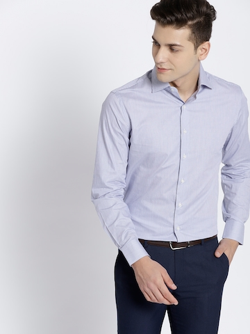 50% OFF on MANGO MAN Men Blue   White Slim Fit Striped Formal Shirt on  Myntra  b5fafee9f