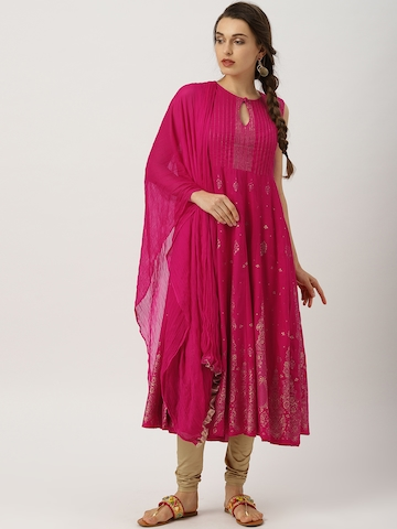 720fa01b8e89b 55% OFF on IMARA Women Pink Printed Kurta with Leggings & Dupatta on Myntra    PaisaWapas.com