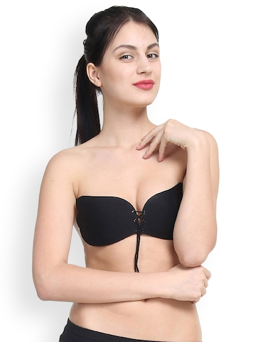 7a6ed11a4be 40% OFF on PrettyCat Black Solid Non-Wired Lightly Padded Push-Up Bra on  Myntra