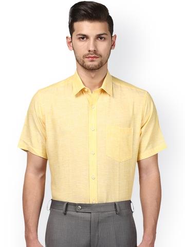 adaf3407 30% OFF on Park Avenue Men Yellow Regular Fit Linen Solid Formal Shirt on  Myntra | PaisaWapas.com