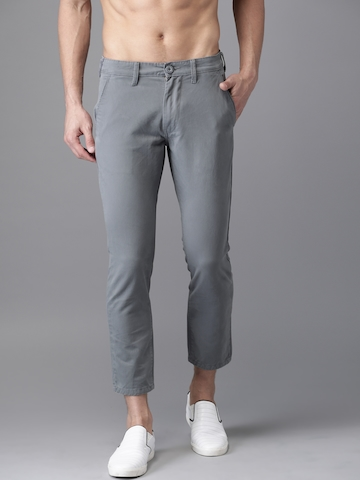 HERE&NOW Men Grey Slim Fit Solid Regular Cropped Trousers