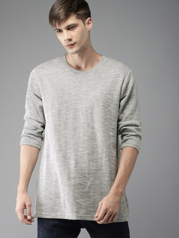 2b99b245c251 40% OFF on Moda Rapido Men Grey Melange Solid Round Neck T-shirt on Myntra  | PaisaWapas.com