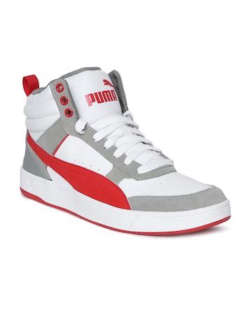 935fcf5249b411 Buy Puma Men White Puma Rebound Street v2 Mid-Top Sneakers on Myntra ...