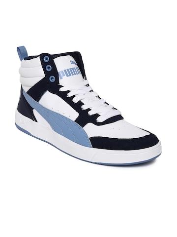 c6e8737c0bce10 50% OFF on Puma Men White   Navy Blue Rebound Street v2 Mid-Top Sneakers on  Myntra