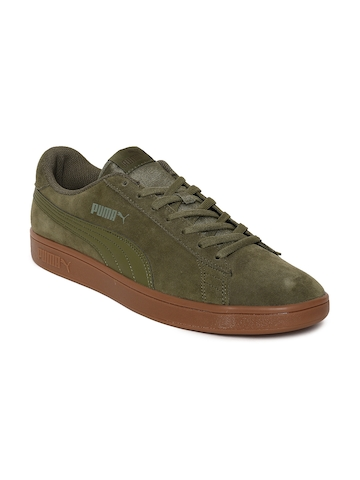 e4c8673f469 40% OFF on Puma Men Olive Green Smash v2 Suede Sneakers on Myntra ...